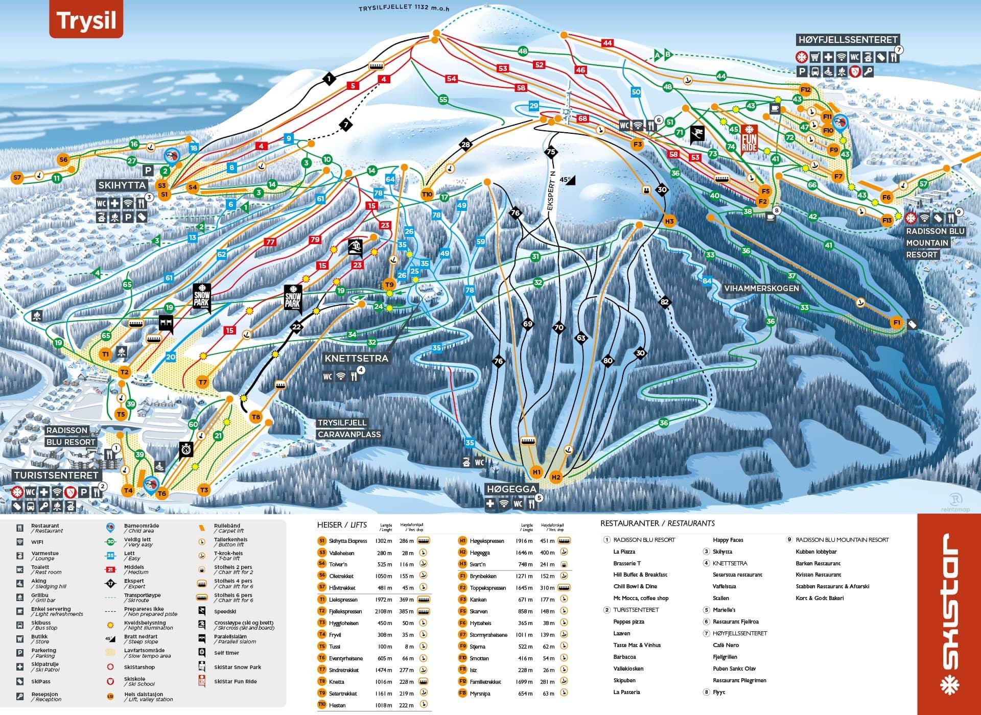 Trysil - mäekaart